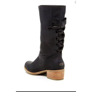 UGG Australia Leather Boots with Lace Up Bow Back